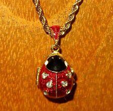 FABERGE ENAMEL LADYBUG Swarovsky Crystals LADYBIRD EGG inside CUPID pendant gift