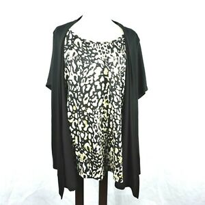 White-Stag-Womens-Size-2X-Top-Blouse-Faux-Layer-Animal-Print-Embellished-Stretch