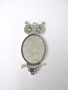 3pcs 30x40mm owl pendant setting glass jewellery making craft UK - Banbury, United Kingdom - 3pcs 30x40mm owl pendant setting glass jewellery making craft UK - Banbury, United Kingdom
