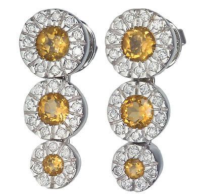 Citrine and Diamond Gemstone Sunflower 18ct White Gold Earrings