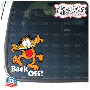 "Garfield ""BACK OFF!"" Printed Die-cut Vinyl Sticker for Cars/Trucks FULL COLOR"
