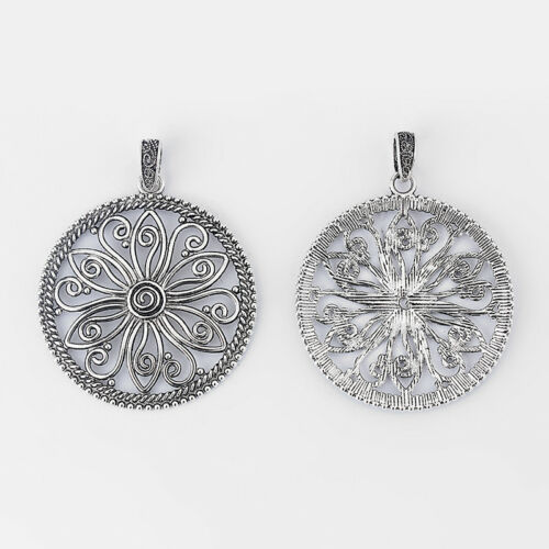 2 x Tibetan Silver Large Open Round Flower Charms Pendants Jewelry Findings 60mm