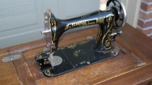 Rare-Eldredge-Two-Spool-Sewing-Machine-with-incredible-orig-treadle-base-amp-papers