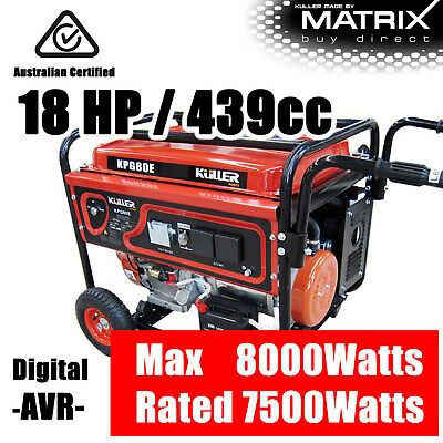 18HP Rated 7500W Max 8000W Single Phase Generator 4 Stroke Portable Petrol