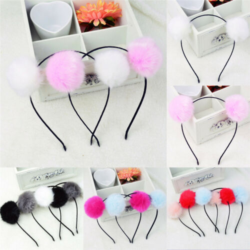 Womens Girl Warm Pom Fur Ball Furry Ears Headband Hair band Head Accessory Qg
