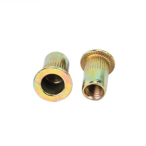 Qty 50 M6 Large Flange Nutserts ZINC Steel Rivet Nut Rivnut Nutsert Nuts