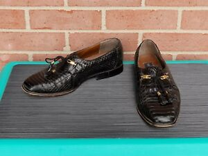 Giorgio-Brutini-Black-Dress-Men-Leather-Pattern-Snake-Skin-Lace-Up-Shoes-8-5-M