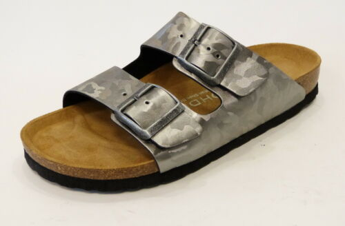 Rohde Pantolette Sandale Weichbett grau altsilber Korkfußbett 5614 88 Schnalle