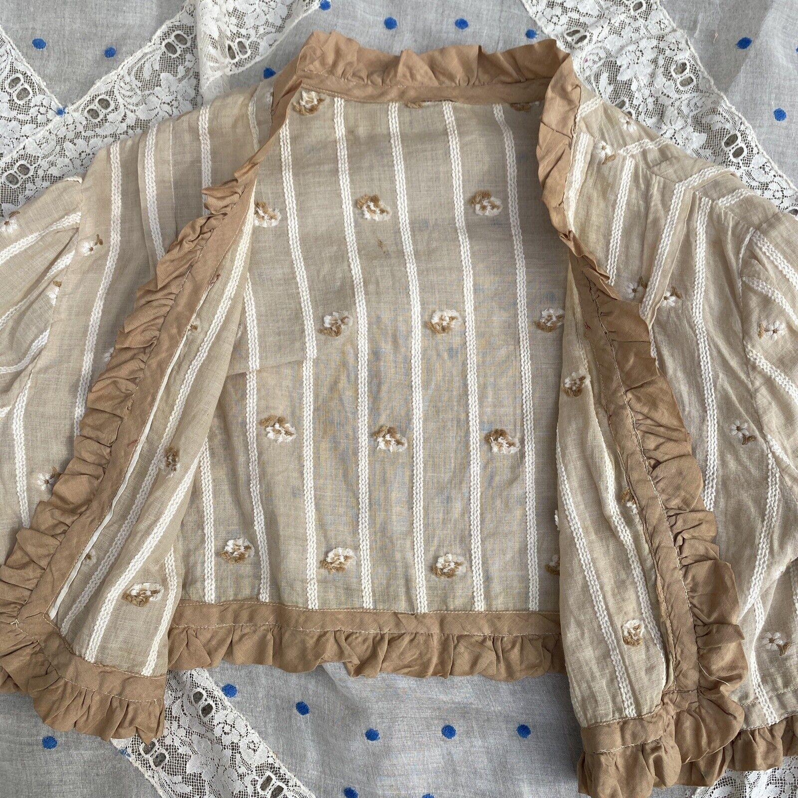 Antique Edwardian Ecru Cotton Blouse Top Embroide… - image 7