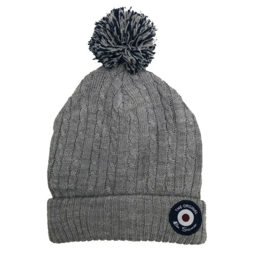 Ben Sherman Youths Bobble Hat Knitted Woolly Hat One Size Fits All Grey or Blue