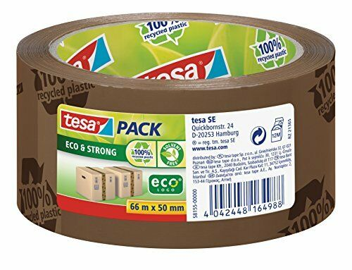 tesa UK Eco and Strong Recycled Printed Strong Packaging Tape 66 m x 50 mm - Bro
