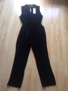 M-amp-S-Per-Una-Black-Sleeveless-Belted-Velour-velvet-Look-Jumpsuit-Sz-22-BNWT