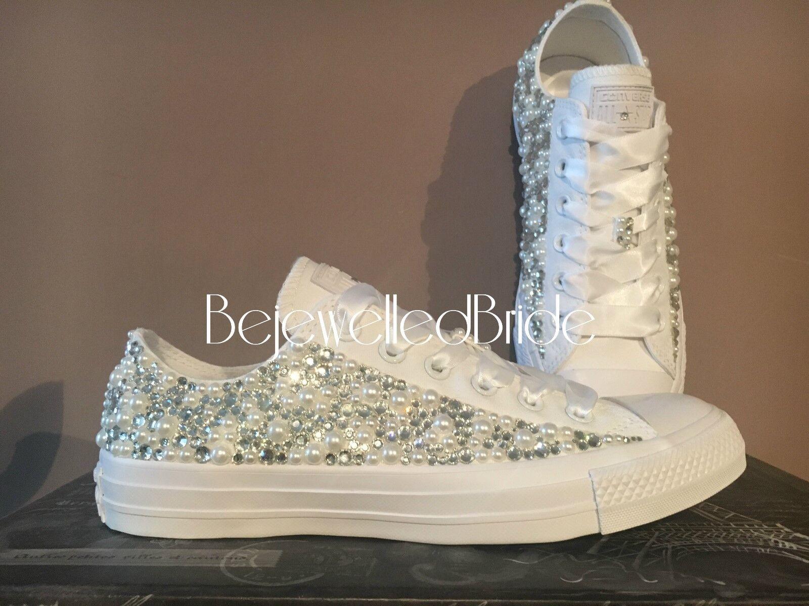 Wedding Converse All bianco, con Perle e Cristalli, Cristalli, Cristalli, tutte le taglie disponibili 7b21cd