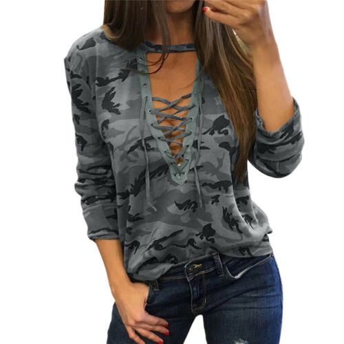 Women V-Neck Lace Up Camo T-Shirt Long Sleeve Casual Loose Blouse Top Shirt@YH