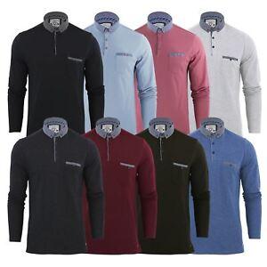 Brave-Soul-Hera-Homme-Polo-T-Shirt-en-coton-a-manches-longues-Top-Casual