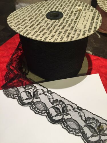 2 Rolls Black Lace Flowers 2.5 Inches Wide 300 Yards Beautiful Made In Mexico
