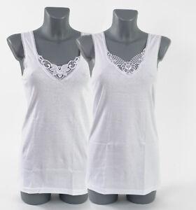 sports shoes c3df5 79f15 Details zu 2 Stück Damenunterhemd Damen Unterhemd mit Spitze weiß  100%Baumwolle Gr 48/50TOP