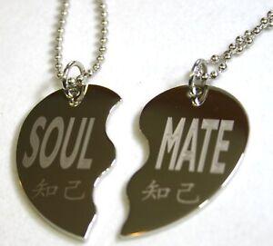 Split heart necklace soul mate solid stainless steel pendant la foto se est cargando split collar de corazon alma mate collar colgante aloadofball Gallery