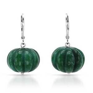 Image Is Loading Genuine Green Jade Earrings Made In 925 Sterling