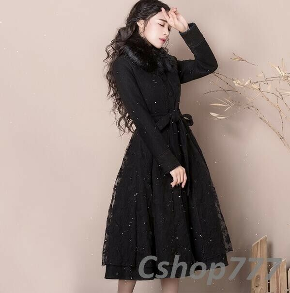 Womens Long Dress Skirts Slim Fit Parkas Woolen Overcoats Lace Coats Fur Collar