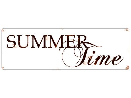 Plaque métallique Shabby Tôle Bouclier Vintage Summer Time été déco bouclier