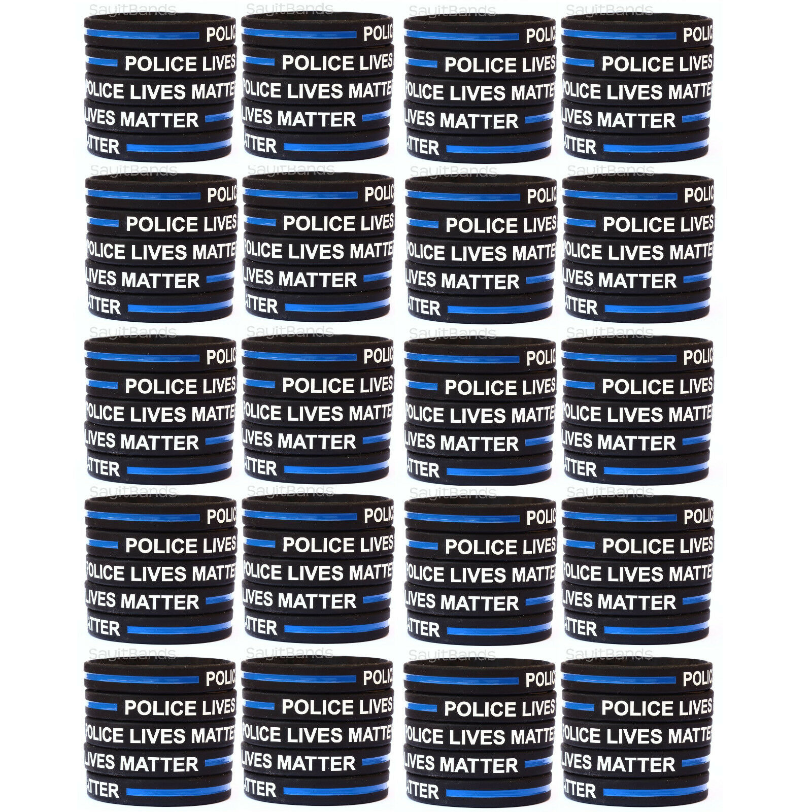 100 Police Lives Matter Wristbands Thin bluee Line Law Enforcement Awareness Band