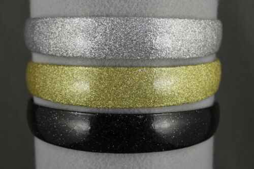 """Gold glitter faux leather sparkly 1/"""" wide headband hair band accessory"""