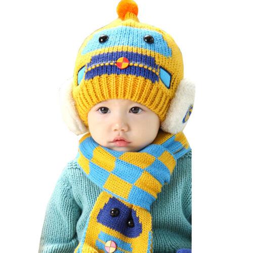 Car Baby Boy Girl Kids Winter Warm Hat Scarf Set Earflap Beanie Crochet Knit Cap