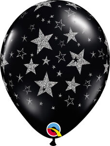 NEW-YEAR-039-S-EVE-BALLOONS-10-x-11-034-QUALATEX-ONYX-BLACK-WITH-GLITTER-STARS-BALLOONS