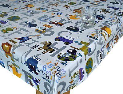 Children Multi Colored Abc Animal Print White Grey Pvc Plastic Vinyl Table Cloth Ebay