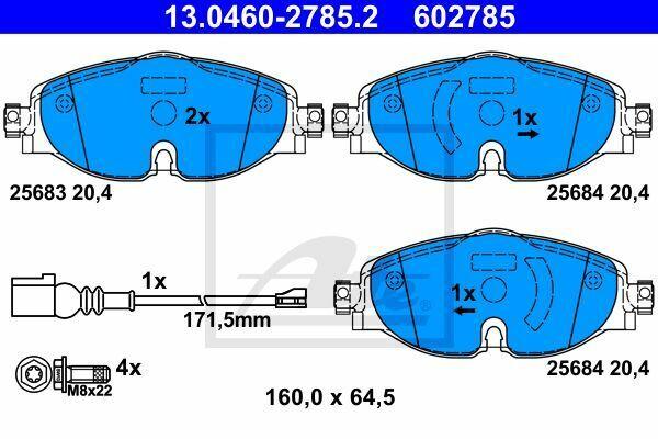 ATE 13.0460-2785.2 Bremsbelag Satz Bremsklötze für VW AUDI SKODA