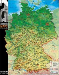 deutschland karte berge 3D   Landkarte Deutschland 60 x 47 cm Karte Germany Städe Berge