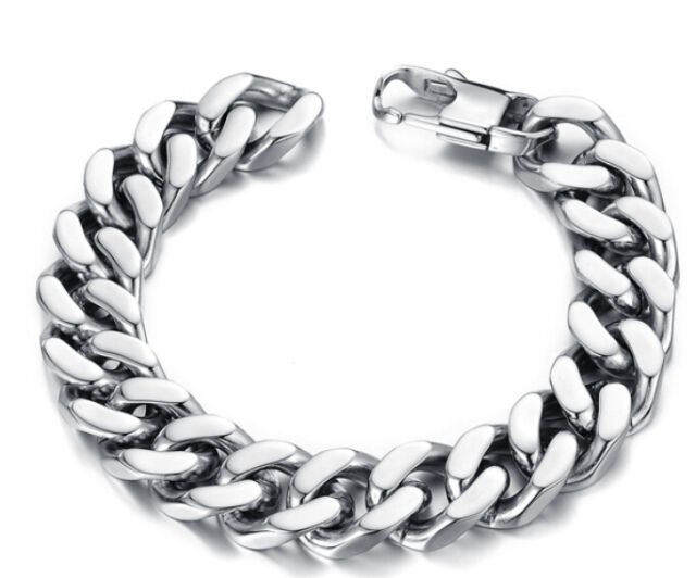 Top Quality Silver Stainless Steel Mens Boys Chunky Curb Chain Bracelet 8.66''
