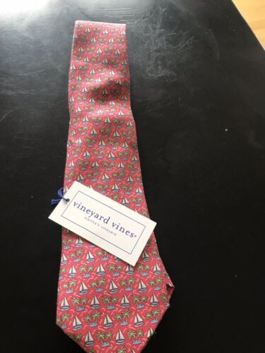 Nwt Vineyard Vines Boys Tie Split Palm Raspberry Pink Shep /& Ian $49.50 NEW