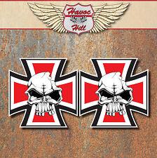 Skull Iron Cross Stickers Custom car motorbike hot rat rod Bobber Chopper