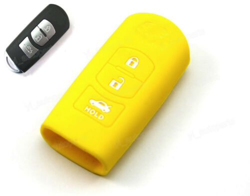 Yellow Silicone Case Cover Holder For Mazda Remote Smart Key 3 Button SMM3YE