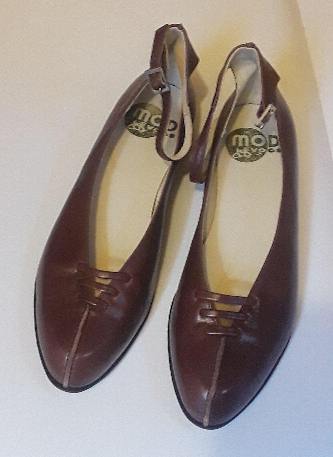NEW BROWN JOHN FLUEVOG MODVOG: JEN BROWN NEW LEATHER Schuhe 8.5 w ANKLE STRAPS 7c5373