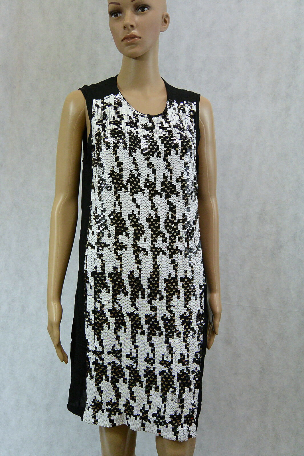 WITCHERY BNWT  250 Handmade Sequins Houndstooth Shift Dress 10 Evening M S