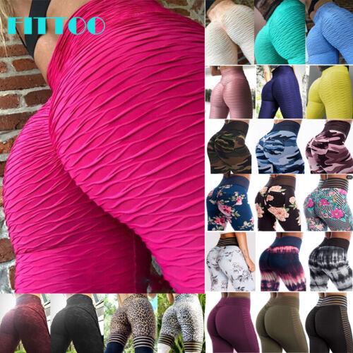 FITTOO Women High Waist Printed Yoga Pants Push Up Sport Gym Running Leggings X7