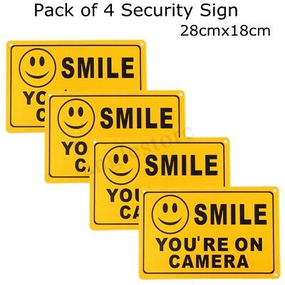 4x SMILE YOU/'RE ON CAMERA Yellow Business Security Sign CCTV Video Surveillance