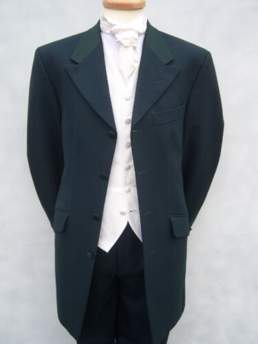 MENS DARK GREEN 3//4 LONG LINE WEDDING DRESS BLAZER JACKET 36 38 40 42 44 46
