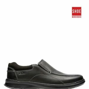 Clarks COTRELL STEP Black Mens Slip-on Casual Leather Shoes