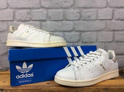 Adidas Uk 5 Eu 38 Stan Smith Bianco Grigio Beige In Pelle Donna Scarpe Da Ginnastica Per Bambini-mostra Il Titolo Originale