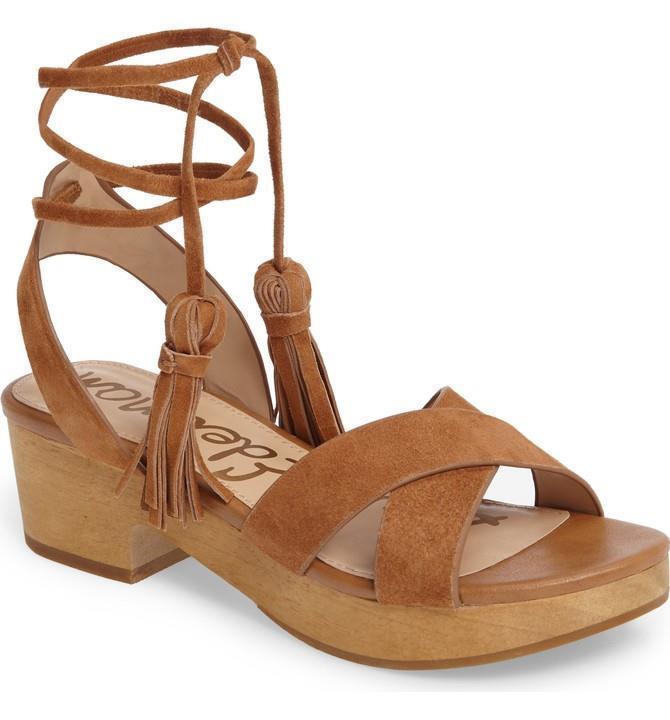SAM Edelman Jenna Saddle Leder Ankle Wrap Sandales Sz 7/37 M Schuhes NEU