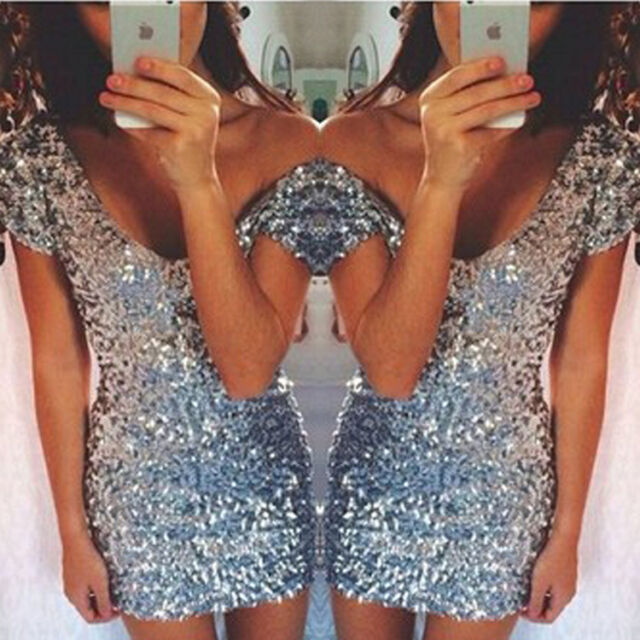 Hot!Sexy Women's Summer Sliver Bodycon Evening Party Cocktail Short Dress