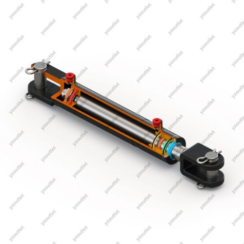 """Ports are 180° w//Pins Hydraulic Welded Cylinder 12/"""" Stroke Clevis 2/"""" Bore"""