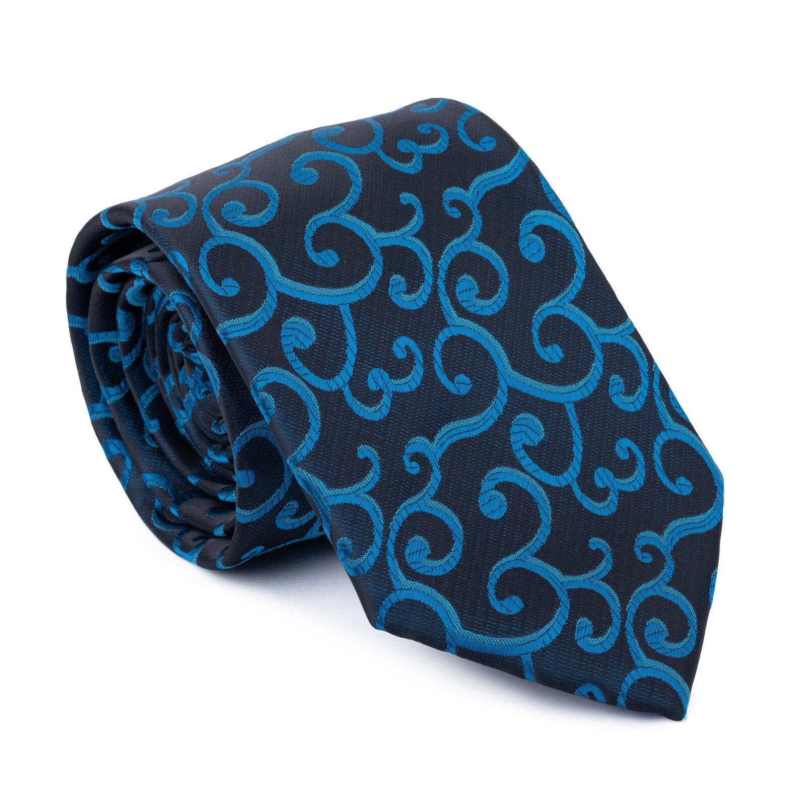 UK Teal on Black Tie Royal Swirl Regular Formal Wedding Necktie Multiple Colour