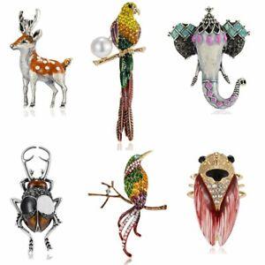 Vintage-Animal-Crystal-Pearl-Elephant-Christmas-Deer-Birds-Brooch-Pin-Jewellery