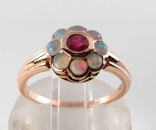 Lush 9CT 9K rosa oro Indiano Rubino Rubino Rubino & Opale Daisy ART DECO INS Anello libero Ridimensiona d8c7a0