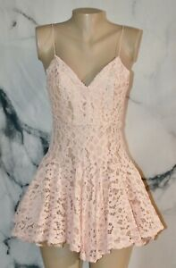 LUXXEL Blush Pink Lace Spaghetti Strap Party Dress Small Lined Fit and Flare